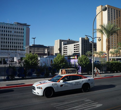 Taxi cab driving through Las Vegas, Nevada
